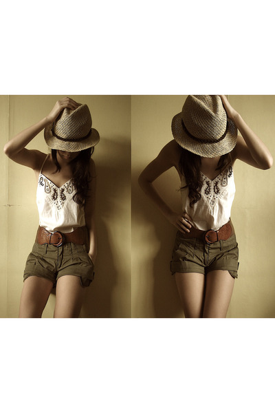 beige What A Girl Wants hat - green What A Girl Wants shorts - brown What A Girl