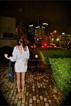 silver DIY top - white Topshop skirt - brown michael antonio shoes