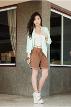 brown Mango shorts - aquamarine WAGW blazer - silver feet for a queen heels