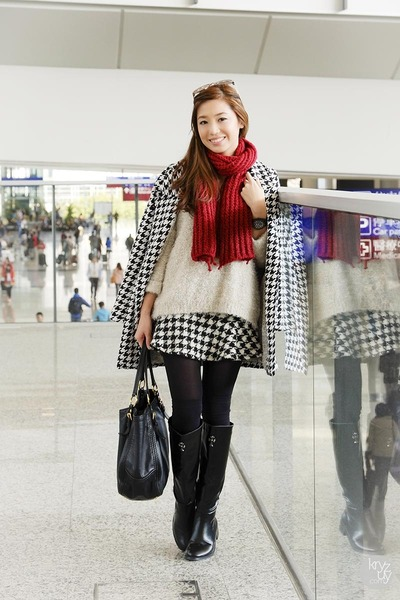 black romwe boots - black Sheinside coat - off white romwe sweater