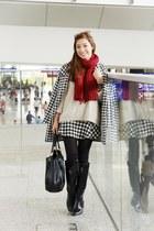 black romwe boots - black Sheinside coat - off white romwe sweater