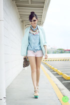 aquamarine lemon blazer - mustard Zara bag - sky blue lemon top