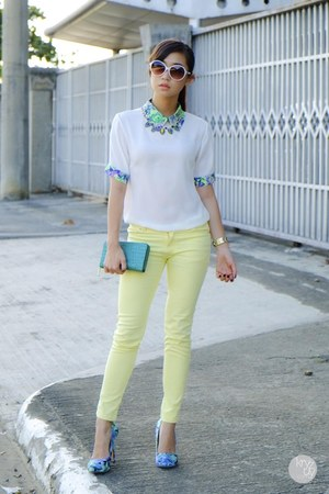 white WAGW top - light yellow WAGW pants