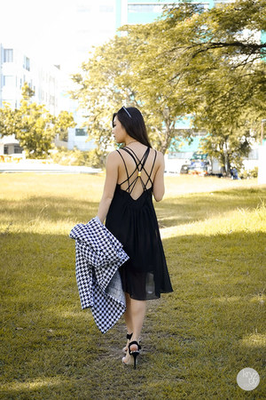 black Sheinside dress - white Sheinside coat