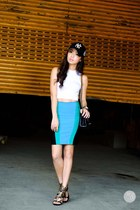 blue windsor skirt - black eazy fashion hat - black Choies heels