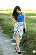 white WAGW skirt - black WAGW bag - blue WAGW top - black ffaq heels