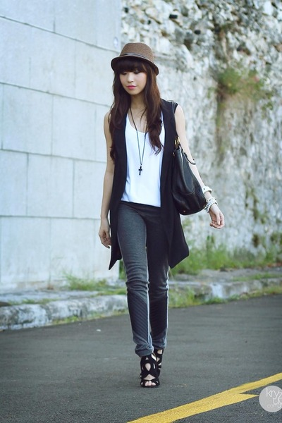 brown sm acc hat - heather gray romwe leggings - white Club Couture top