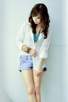 off white WAGW top - light blue DIY shorts - turquoise blue f21 accessories - da