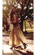 camel danika navarro skirt - brick red danika navarro top - green H&M heels
