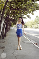 blue Rudy Project sunglasses - silver romwe bag - blue Agatha Garcia skirt