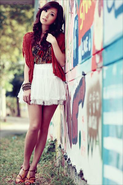 dark brown WAGW dress - white WAGW skirt - brick red WAGW cardigan - orange Char