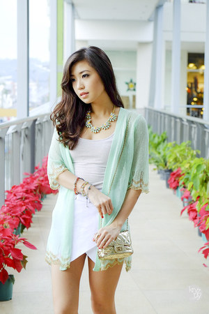 gold WAGW bag - aquamarine WAGW cardigan