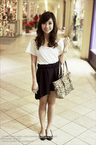 white H&M top - black WAGW skirt - camel coach bag - black Dorothy Perkins shoes