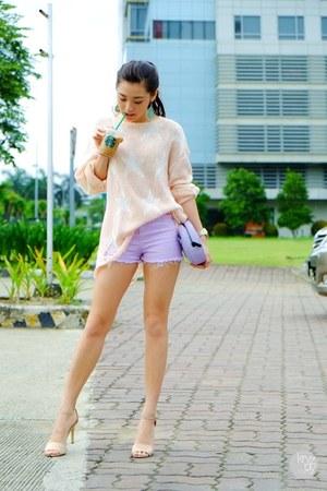 light pink Wildfox sweater - light purple WAGW shorts