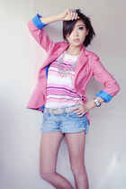 sky blue DIY shorts - bubble gum Bershka blazer - pink Cherokee top
