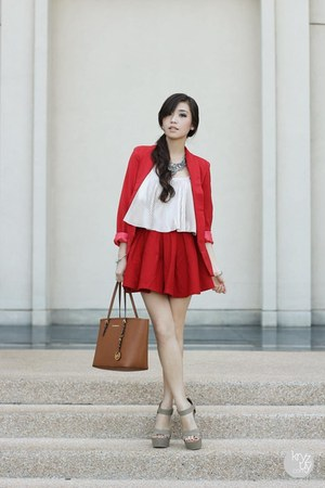 red ellysage blazer - brown Michael Kors bag - silver Style Staple top