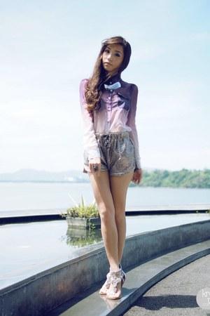 puce romwe top - silver romwe shorts