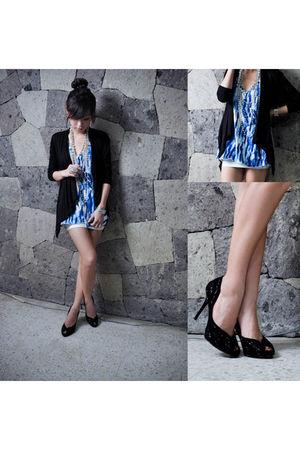 black H&M cardigan - blue WAGW top - silver WAGW accessories - white WAGW skirt