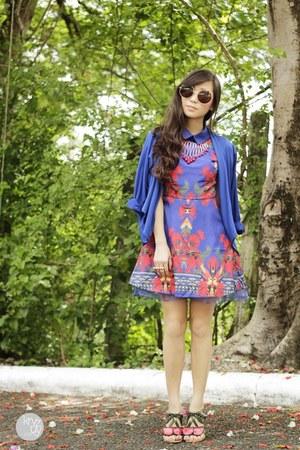 red asian fashion sandals - blue Urban Dressing dress