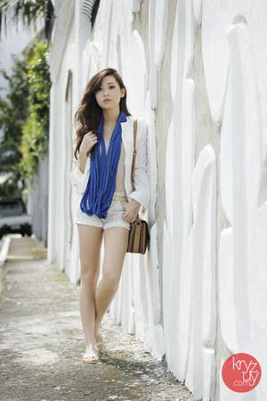 blue stylistaPH scarf - white Ministry of Retail jacket - dark brown Celine bag
