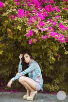 light blue romwe top - light pink Topshop shorts - eggshell Sheinside pumps