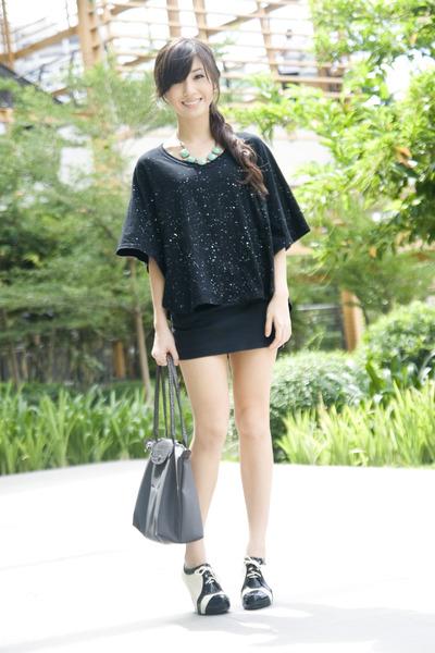 black WAGW top - black WAGW skirt - silver longchamp accessories - beige Summers