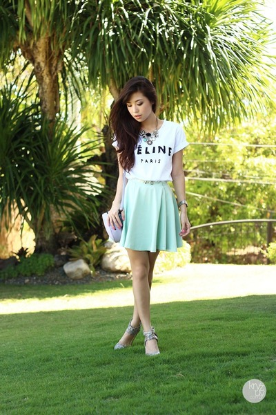 aquamarine windsor skirt - heather gray Choies heels - white Sheinside top