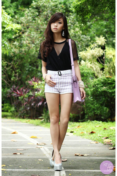 black romwe top - light purple ichigo bag - silver Paris Dreams wedges