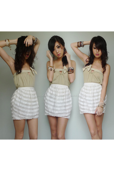 white Topshop skirt - tan iwearsincom top