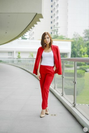 red Zara pants