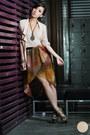 Off-white-h-m-top-brown-romwe-skirt-dark-khaki-s-h-heels