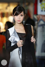 White-romwe-vest-black-windsor-top-silver-wagw-earrings