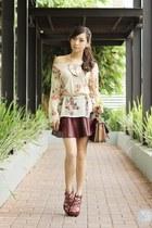 crimson romwe skirt - eggshell clothes for the goddess sweater