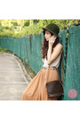 Dark-green-shoppalu-hat-brown-clothes-for-the-goddess-skirt-eggshell-h-m-top