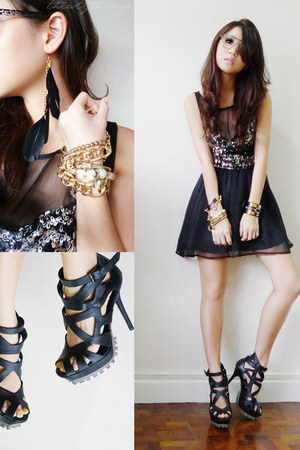 black Maris accessories - black iwearsin dress - black Pedro heels