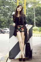 black iwearsin blazer - black Covetz shorts - black Monkee Business top