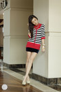 Red-bayo-cardigan-navy-trunkshow-skirt-red-bayo-top