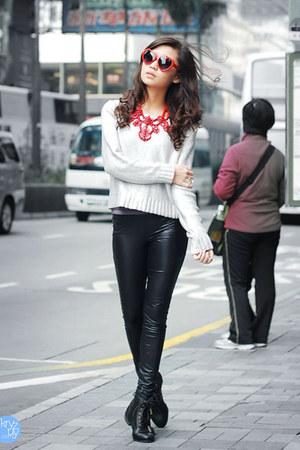 red hk sidewalk sunglasses - black romwe boots - silver H&M sweater