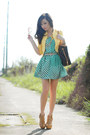 Turquoise-blue-closet-goddess-dress-dark-brown-louis-vuitton-bag