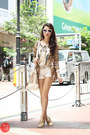 Gold-j-m-shoes-brown-glam-effect-blazer-white-gap-shorts