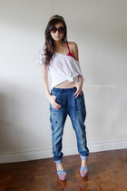 ruby red AsianVogue heels - blue Diesel jeans - gold holic accessories necklace