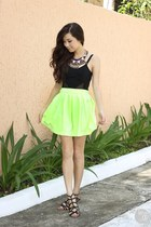 chartreuse House of Eva skirt - silver WAGW necklace