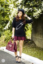 black Fashion Beauty and Beyond sweater - black WAGW hat - maroon Avon bag