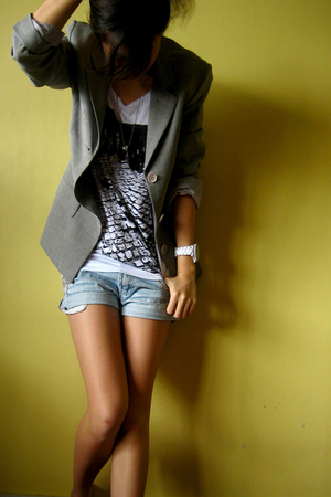 thrifted blazer - thrifted shirt - What A Girl Wants shorts - ice watch accessor