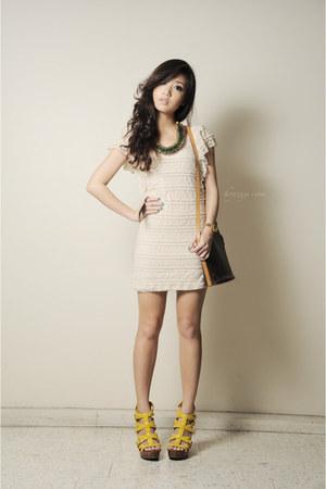 gold Rolex watch - off white felicee dress - dark brown LV bag