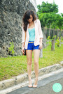 Light-pink-mango-blazer-blue-mango-shorts-sky-blue-mango-top