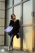 purple balenciaga bag - heather gray comfit boots - black Choies coat