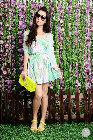 sky blue cesa dress - chartreuse Tutum sandals - aquamarine WAGW cardigan