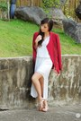 white Ministry of Retail dress - maroon tidebuy blazer - white giftsahoy sandals
