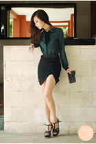black Zara skirt - green Wholesale Dress top